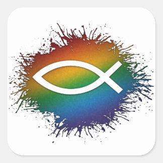 Regenbogen-christliche Fische Quadratischer Aufkleber