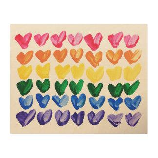 Regenbogen der Liebe - Spaß-bunte handgemalte Holzdruck