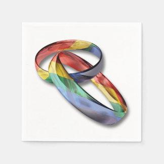 Regenbogen-Eheringe für Heirat-Gleichheit Serviette
