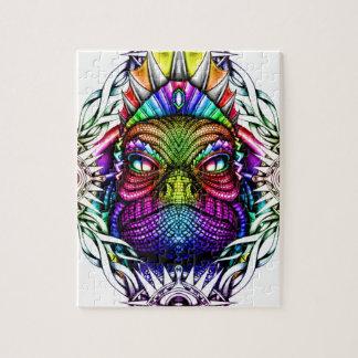 Regenbogen-Eidechsen-König im künstlerischen Puzzle