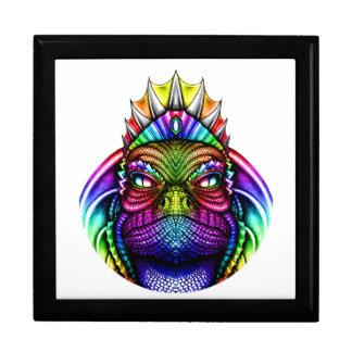 Regenbogen-Eidechsen-König Wearing eine Krone Geschenkbox