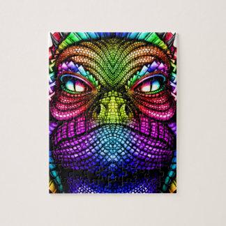 Regenbogen-Eidechsen-König Wearing eine Krone Puzzle