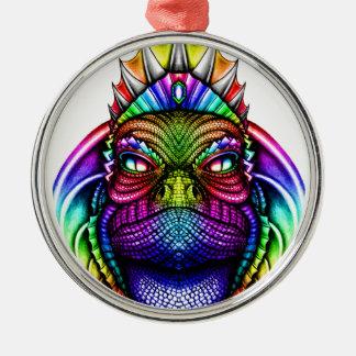 Regenbogen-Eidechsen-König Wearing eine Krone Silbernes Ornament