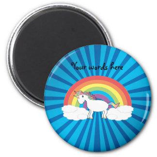 Regenbogen-Einhorn-Blau-Sonnendurchbruch Runder Magnet 5,7 Cm