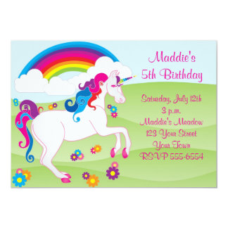 Regenbogen-Einhorn-Geburtstags-Einladungen 12,7 X 17,8 Cm Einladungskarte