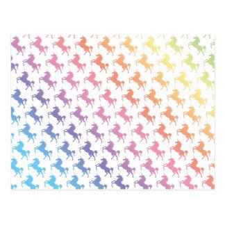 Regenbogen-Einhörner Postkarte