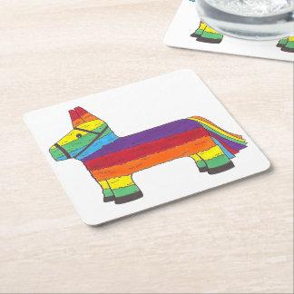 Regenbogen-Esel Piñata Cinco Stolz-Fiesta Des Mayo Rechteckiger Pappuntersetzer