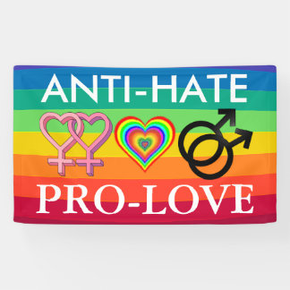 Regenbogen-Fahne Anti-Hass Pro-Liebe Protest-LGBT Banner