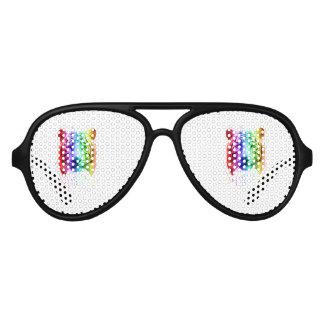 Regenbogen-Farben-Spritzen-sibirischer Tiger Partybrille