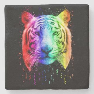 Regenbogen-Farben-Spritzen-sibirischer Tiger Steinuntersetzer