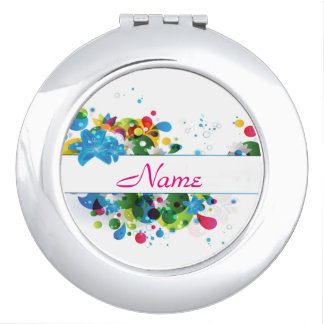 Regenbogen-Farben-Spritzer-personalisierter Taschenspiegel