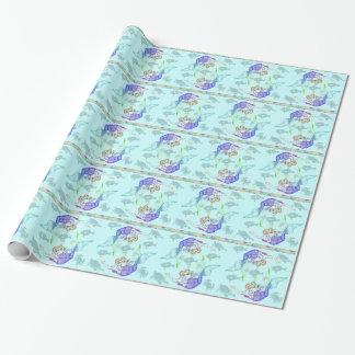 Regenbogen farbige Meerjungfrauen und Seegeschöpfe Geschenkpapier
