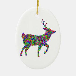 Regenbogen farbige prismatische Rotwild-Kunst Ovales Keramik Ornament
