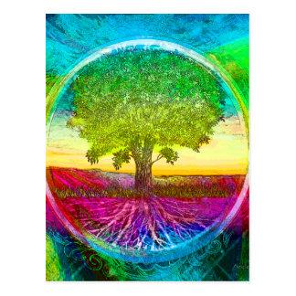 Regenbogen farbiger Baum des Lebens Postkarte