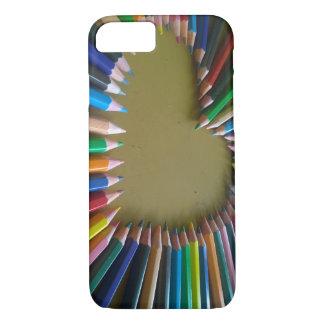 Regenbogen farbiger Bleistift-Herz-Telefon-Kasten iPhone 8/7 Hülle