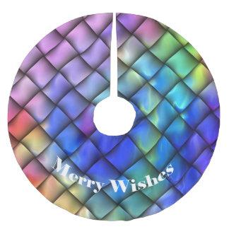 Regenbogen-Farbkorbgeflecht Polyester Weihnachtsbaumdecke