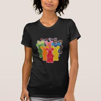 Regenbogen färbt gummiartigen Bären des T-Shirt