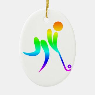 Regenbogen-Feld-Hockey Keramik Ornament