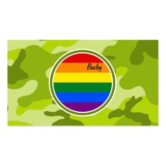 Regenbogen-Flagge hellgrüne Camouflage Tarnung Visitenkarten