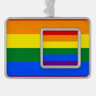 Regenbogen-Flagge Rahmen-Ornament Silber