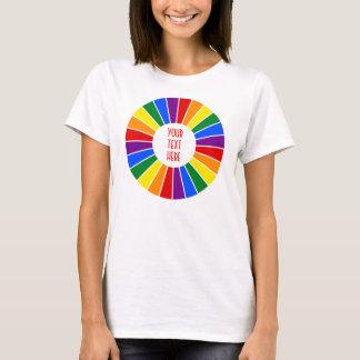 REGENBOGEN-FLAGGEN-KNOPF-STRAHLEN + Ihr Zeichen T-Shirt