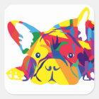 Regenbogen Französische Bulldogge Quadratischer Aufkleber