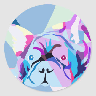 Regenbogen Französische Bulldogge Runder Aufkleber