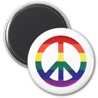 Regenbogen Frieden-Zeichen Runder Magnet 5,7 Cm