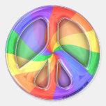 Regenbogen-Friedensaufkleber Runder Aufkleber
