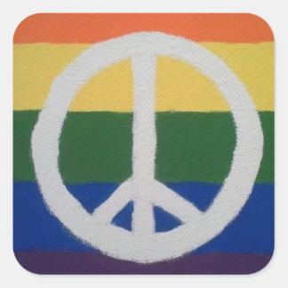 Regenbogen-Friedenszeichen Quadratischer Aufkleber