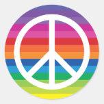 Regenbogen-Friedenszeichen Runder Sticker