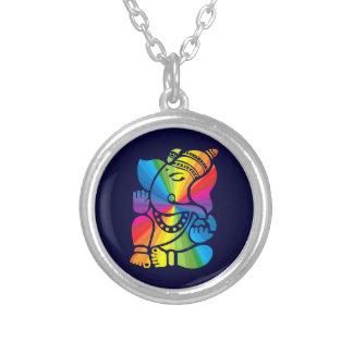 Regenbogen Ganesha Versilberte Kette