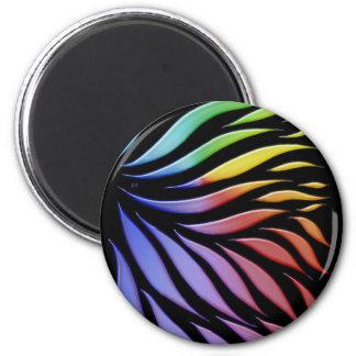 Regenbogen-Gekritzel-flippiges Schwarzes Runder Magnet 5,1 Cm