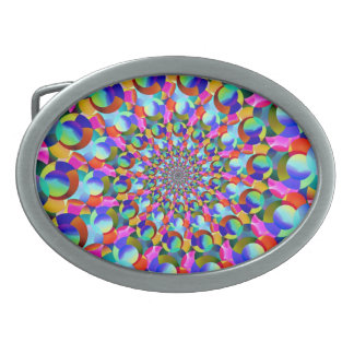 Regenbogen-gewundene Fraktal-Kunst Ovale Gürtelschnalle
