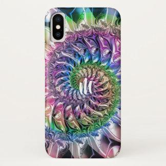 Regenbogen-gewundener Fraktal-Monogramm iPhone X iPhone X Hülle