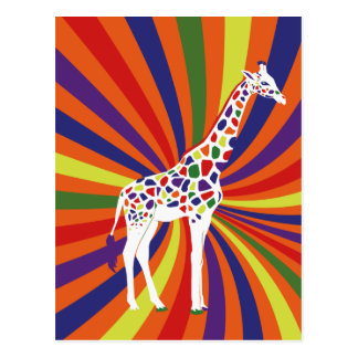 Regenbogen-Giraffen-Kunst Postkarte