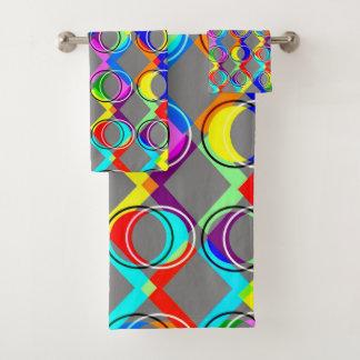 Regenbogen-Gitter und Kreise Badhandtuch Set