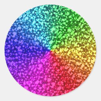 Regenbogen-Glitter-Glitzern Runder Aufkleber