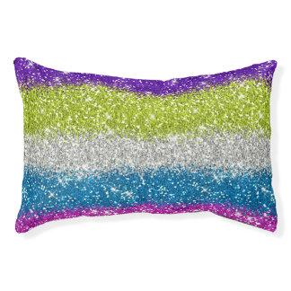 Regenbogen-Glitter-Streifen Haustierbett