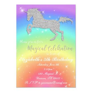 Regenbogen-Glitterunicorn-Geburtstag Inviation Karte