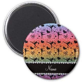 Regenbogen-Glitterzahl Skaten des individuellen Runder Magnet 5,7 Cm