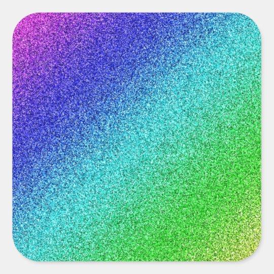 Regenbogen Glitzer bunt Quadratischer Aufkleber