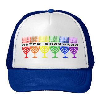Regenbogen glückliche Chanukah Hüte Baseballkappen