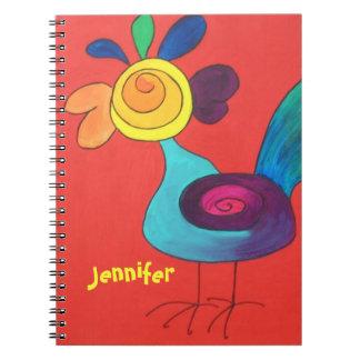 Regenbogen-Hahn addieren einen Namen Spiral Notizbücher