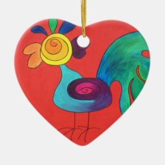 Regenbogen-Hahn Keramik Herz-Ornament