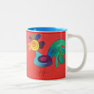 Regenbogen-Hahn Zweifarbige Tasse
