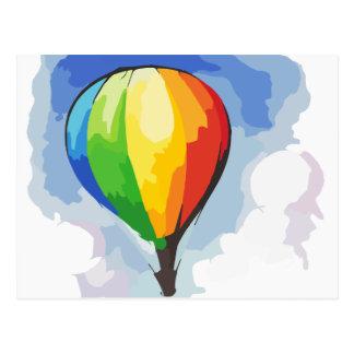 Regenbogen-Heißluft-Ballon Postkarte