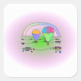 Regenbogen-Heißluft-Ballone Quadratischer Aufkleber
