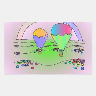 Regenbogen-Heißluft-Ballone Rechteckiger Aufkleber