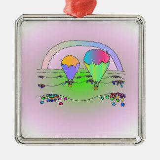 Regenbogen-Heißluft-Ballone Silbernes Ornament